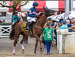 August 18, 2021: #6 The Mean Queen (IRE) ridden by Thomas Garner in the post parade before the start of the Grade 1 Jonathan Sheppard Handicap at Saratoga Race Course in Saratoga Springs, N.Y. on August 18, 2021. <br /> Robert Simmons/Eclipse Sportswire/CSM
