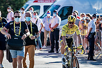 Julian Alaphilippe (FRA/Deceuninck-QuickStep) rolls in for the podium ceremony, but will be fined a 20 second penalty because of a late feed with 17km to go and therefore loses his yellow jersey to Adam Yates...<br /> <br /> Stage 5 from Gap to Privas (183km)<br /> <br /> 107th Tour de France 2020 (2.UWT)<br /> (the 'postponed edition' held in september)<br /> <br /> ©kramon