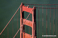 aerial photograph of one of the Golden Gate bridge towers, San Francisco,  California
