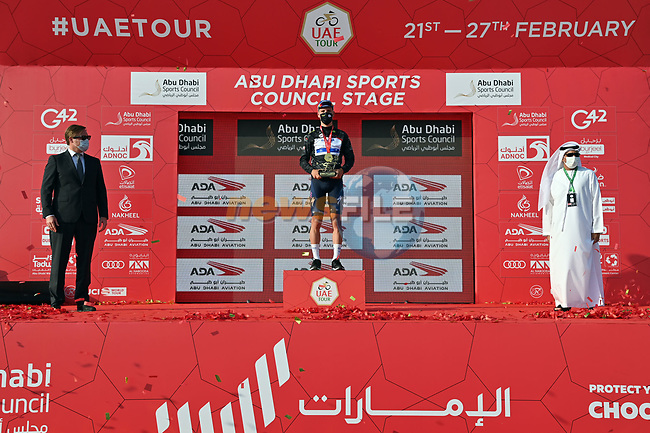 Joao Almeida (POR) Deceuninck-Quick Step also takes over the intermediate sprint Black Jersey at the end of Stage 2 of the 2021 UAE Tour running 13km around Al Hudayriyat Island, Abu Dhabi, UAE. 22nd February 2021.  <br /> Picture: LaPresse/Gian Mattia D'Alberto | Cyclefile<br /> <br /> All photos usage must carry mandatory copyright credit (© Cyclefile | LaPresse/Gian Mattia D'Alberto)
