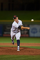 Scottsdale Scorpions relief pitcher Andrew Schwaab (74), of the New York Yankees organization, follows through on his delivery during an Arizona Fall League game against the Peoria Javelinas on October 20, 2017 at Scottsdale Stadium in Scottsdale, Arizona. the Javelinas defeated the Scorpions 2-0. (Zachary Lucy/Four Seam Images)
