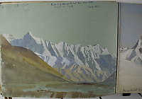 BNPS.co.uk (01202 558833)<br /> Pic: StroudAuctions/BNPS<br /> <br /> Pictured: Paintings and sketches from one of Theodore Howard Somervell's sketchbook's which he labelled 'TH Somervell, Ney Yoor, Travancore and Kashmir esp Nanga Parbat'<br /> <br /> Fascinating art work by a British mountaineer who twice climbed Mount Everest have sold at auction a century later for over £30,000.<br /> <br /> Theodore Howard Somervell took part in pioneering expeditions to the Himalayas in 1922 and 1924.<br /> <br /> He got to within 1,000ft of the summit, the highest point reached at that time, despite not using an oxygen tank.<br /> <br /> The skilled artist produced dozens of watercolours and sketches of the scenes he witnessed, including glacial peaks and camp life.<br /> <br /> His works sparked a bidding war when they were sold by a direct descendant with Stroud Auctions, of Gloucs. An oil on canvas painting of Everest base camp in 1922 sold for £7,500, almost 40 times its estimate.