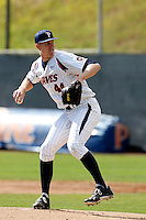 Scott Frazier #44 of the Pepperdine Waves pitches against the Seton Hall Pirates at Eddy D. Field Stadium on March 8, 2013 in Malibu, California. (Larry Goren/Four Seam Images)