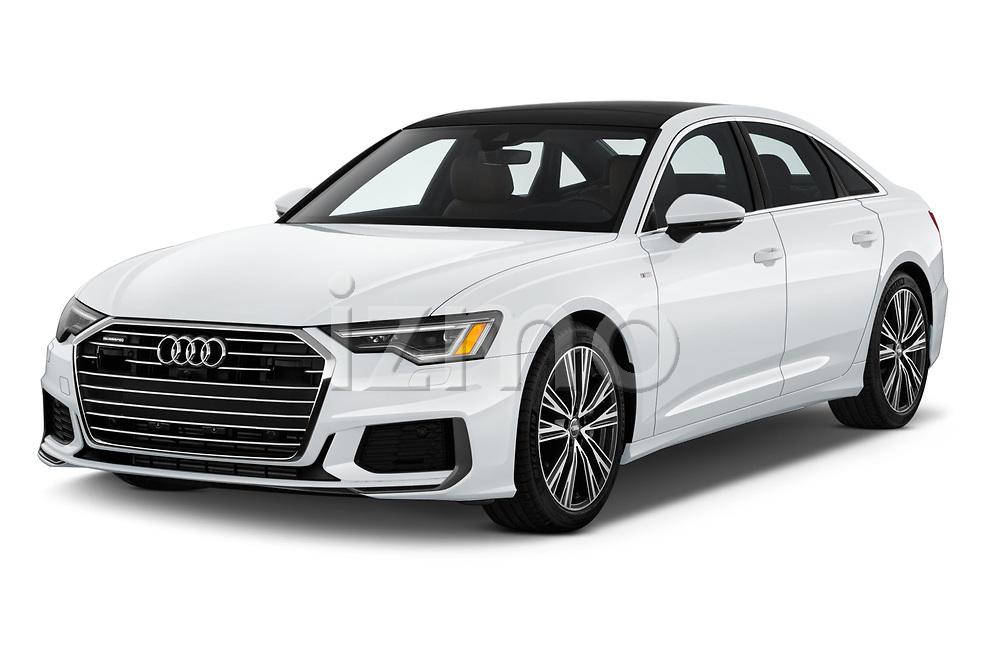 2019 Audi A6 Premium Plus 4 Door Sedan angular front stock photos of front three quarter view