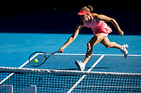 13th February 2021, Melbourne, Victoria, Australia; Elise Mertens of Belgium returns the ball during round 3 of the 2021 Australian Open on February 13 2020, at Melbourne Park in Melbourne, Australia.