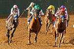 """DEL MAR, CA. AUGUST 19: #2 Collected, ridden by Martin Garcia, #3 Accelerate, ridden by Victor Espinoza and #8 Arrogate, ridden by Mike Smith, going into the final turn of the TVG Pacific Classic (Grade l) """"Win and You're In Classic Division"""", on August 19, 2017, at Del Mar Thoroughbred Club in Del Mar, CA. (Photo by Casey Phillips/Eclipse Sportswire/Getty )"""