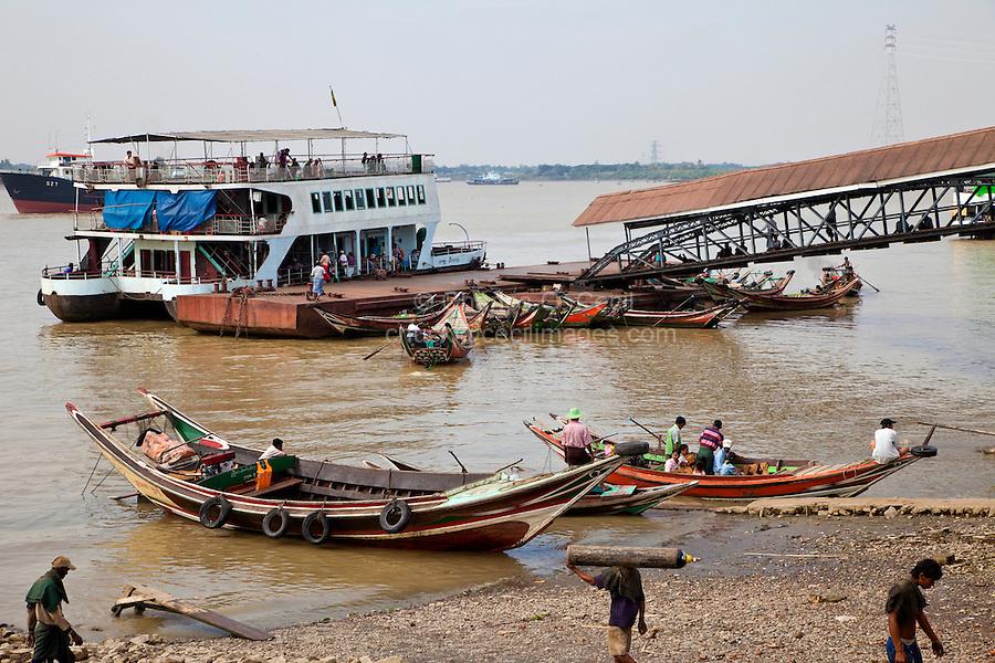 Myanmar, Burma, Yangon.  Boat Traffic on the Yangon River.