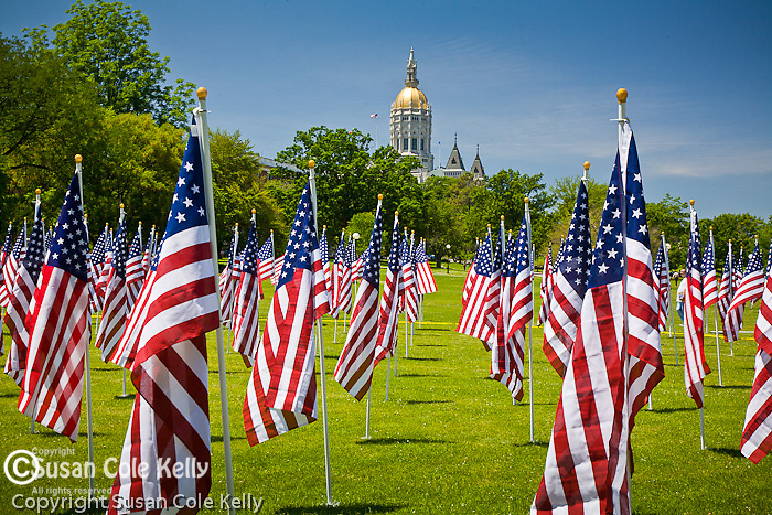 Hundreds of American Flags celebrate Flag Day at the Capitol in downtown Hartford, CT, USA