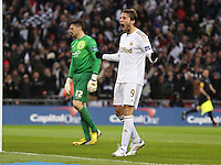 Pictured: Michu of Swansea is celebrating the goal by team mate Nathan Dyer. Sunday 24 February 2013<br /> Re: Capital One Cup football final, Swansea v Bradford at the Wembley Stadium in London.