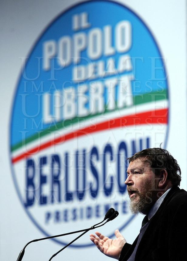 Il giornalista Giuliano Ferrara parla ad una manifestazione del Popolo della Liberta' a Roma, 7 marzo 2008..UPDATE IMAGES PRESS/Riccardo De Luca