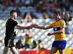 Marc Kelliher of Kerry and Kevin Keane of Clare shake hands following their Munster Minor football final at Pairc Ui Chaoimh. Photograph by John Kelly.