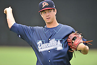 Pitcher Taylor Cockrell (34) of the Danville Braves warms up before in a game against the Johnson City Cardinals on Friday, July 1, 2016, at Legion Field at Dan Daniel Memorial Park in Danville, Virginia. Johnson City won, 1-0. (Tom Priddy/Four Seam Images)
