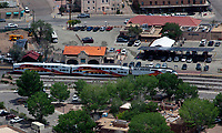 aerial photograph of Santa Fe Depot, Santa Fe, New Mexico, the northern terminus of the New Mexico Rail Runner commuter rail line