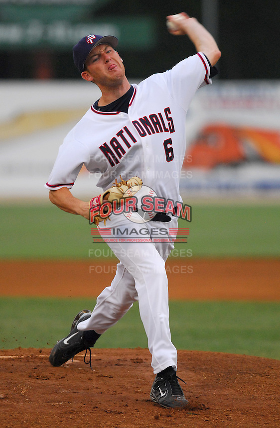 25 June 2007: Jack Spradlin of the Potomac Nationals, Class A affiliate of the Washington Nationals, vs. the Frederick Keys, a Baltimore Orioles affiliate, at Pfitzner Stadium, Woodbridge, Va.  Photo by:  Tom Priddy/Four Seam Images