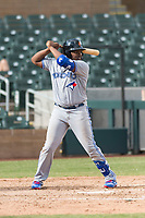 Surprise Saguaros third baseman Vladimir Guerrero Jr. (27), of the Toronto Blue Jays organization, at bat during an Arizona Fall League game against the Salt River Rafters at Salt River Fields at Talking Stick on October 23, 2018 in Scottsdale, Arizona. Salt River defeated Surprise 7-5 . (Zachary Lucy/Four Seam Images)