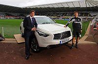 Pictured: Michael Laudrup<br /> Re: Swansea City FC squad photo-shoot at the Liberty Stadium, south Wales.