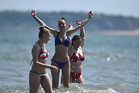 Thursday 25 May 2017<br /> Pictured: Lore Larisa and Cornelia from Tenby enjoy themselves in the sea! <br /> Re: People enjoy the warm sunshine in Tenby, , West Wales. Temperatures today are expected to reach the high 20s Centigrade in many parts of the UK, making it one of  warmest days of the year so far