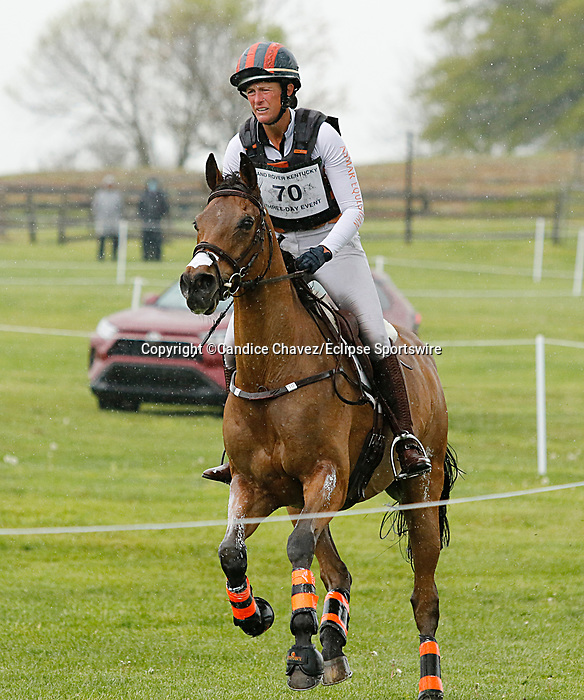 April 24, 2021: #70 Vermiculus and rider Lauren Nicholson in the Cross Country test at the Land Rover Three Day Event at the Kentucky Horse Park in Lexington, KY on April 24, 2021.  Candice Chavez/ESW/CSM