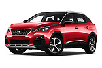 Stock pictures of low aggressive front three quarter view of a 2018 Peugeot 3008 Allure 5 Door SUV
