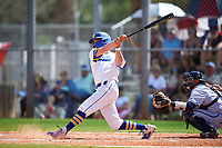 South Dakota State Jackrabbits right fielder Logan Holtz (6) hits a home run during a game against the FIU Panthers on February 23, 2019 at North Charlotte Regional Park in Port Charlotte, Florida.  South Dakota State defeated FIU 4-3.  (Mike Janes/Four Seam Images)