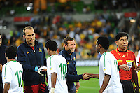 Lucas NEILL (2) of Australia shakes hands with Nasser AL SHAMRANI (11) of Saudi Arabia during the FIFA 2014 World Cup Group D Asian Qualifier match between Australia and Saudi Arabia at AAMI Park in Melbourne, Australia...This image is not for sale on this web site. Please contact Southcreek Global Media for licensing:.Toll Free: 1.800.934.5030.Canada: 701 Rossland Rd. East, Suite 315, Whitby, Ontario, Canada, L1N 9K3.USA: 10792 Baron Dr, Parma OH, USA 44130.Web: http://southcreekglobal.net/ and http://southcreekglobal.com/