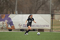 LOUISVILLE, KY - MARCH 13: Kaleigh Riehl #18 of Racing Louisville FC dribbles the ball during warmups before a game between West Virginia University and Racing Louisville FC at Thurman Hutchins Park on March 13, 2021 in Louisville, Kentucky.