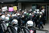 Montreal (Qc) CANADA -Oct 22 2009 - Protest against George W Bush speech at The Queen ElizAbeth Hotel,