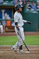 Luis Brito (16) of the Grand Junction Rockies at bat against the Ogden Raptors in Pioneer League action at Lindquist Field on August 24, 2016 in Ogden, Utah. The Raptors defeated the Rockies 11-10. (Stephen Smith/Four Seam Images)