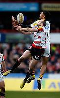 Photo: Richard Lane/Richard Lane Photography. Gloucester Rugby v Wasps. Aviva Premiership. 05/03/2016. Wasps' Frank Halai and Gloucester's Charlie Sharples challenge for a high ball.