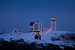 Christmas lights on Cape Neddick / Nubble Light in York, ME, USA