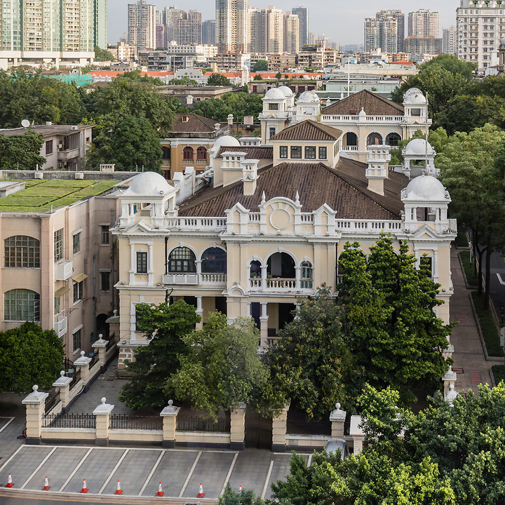 The APC Offices Built In 1906 On Shamian (Shameen) Island In Guangzhou (Canton). The German Consulate, Which Was Later Acquired By APC, Is To The Rear. This Was Taken From The White Swan Hotel In 2017.