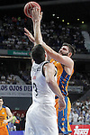 Real Madrid's Felipe Reyes (l) and Valencia BC's Bojan Dubljevic during Liga Endesa ACB 1st Semifinal match. June 4,2015. (ALTERPHOTOS/Acero)