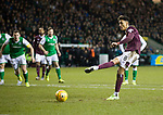 03.03.2020 Hibs v Hearts: Sean Clare scores from the penalty spot