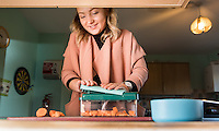 FAO: Society <br /> Pictured: Alys Phillips preparing vegetables for lunch<br /> Re: Care worker Alys Phillips, 23, who looks after people with learning disabilities in Brecon, mid Wales, UK. Wednesday 01 February 2017