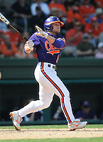 Outfielder Addison Johnson (18) of the Clemson Tigers in a game against the Michigan State Spartans on Sunday, Feb. 27, 2011, at Fluor Field in Greenville, S.C. Photo by Tom Priddy/Four Seam Images