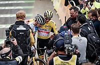 Jonas Vingegaard (DEN/Jumbo-Visma) and yellow jersey / GC leader / stage winner Tadej Pogacar (SVN/UAE-Emirates) wins up Luz Ardiden hugging after the finish<br /> <br /> Stage 18 from Pau to Luz Ardiden (130km)<br /> 108th Tour de France 2021 (2.UWT)<br /> <br /> ©kramon