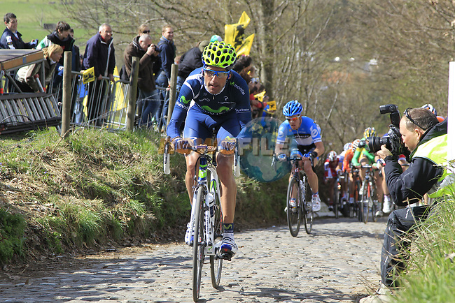 The breakaway group with Pablo Lastras Garcia (ESP) Movistar Team and Tyler Farrar (USA) Garmin-Barracuda climb Koppenberg during the 96th edition of The Tour of Flanders 2012, running 256.9km from Bruges to Oudenaarde, Belgium. 1st April 2012. <br /> (Photo by Eoin Clarke/NEWSFILE).
