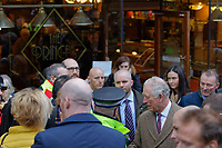 Pictured: Prince Charles leaves Prince's Cafe in Taff Street in Pontypridd. Friday 21 February 2020<br /> Re: HRH Prince Charles visits Pontypridd in south Wales, UK.