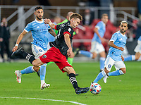 WASHINGTON, DC - APRIL 17: Julian Gressel #31 of D.C. United passes the ball during a game between New York City FC and D.C. United at Audi Field on April 17, 2021 in Washington, DC.