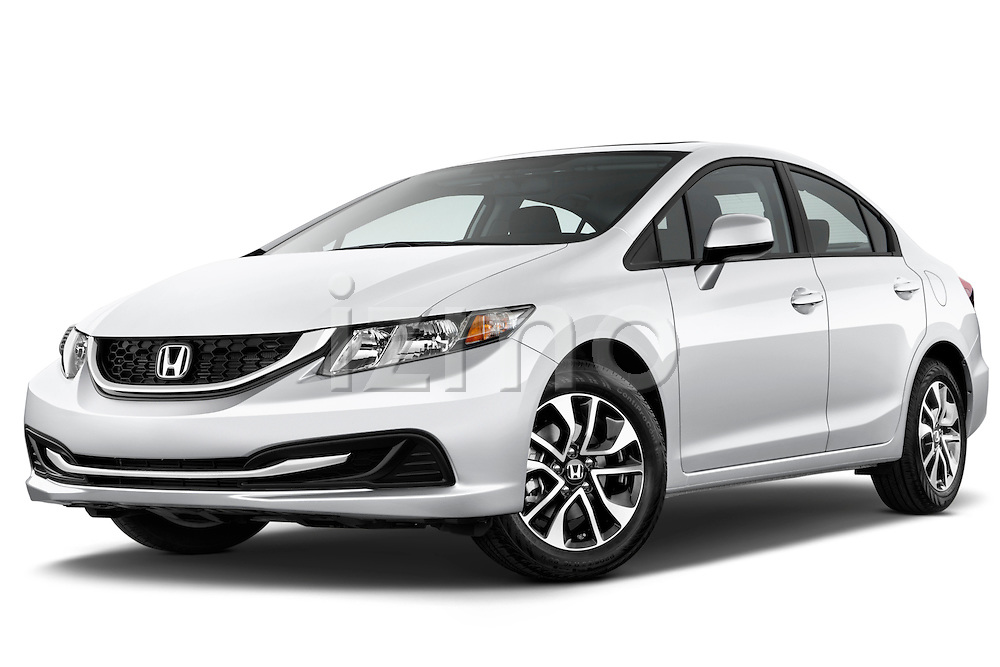 Low aggressive front three quarter view of a .  2013 Honda Civic Sedan EX Sedan