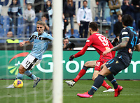 Football, Serie A: S.S. Lazio - Spal, Olympic stadium, Rome, February 2, 2020. <br /> Lazio's captain Ciro Immobile (l) is going to score his second goal in the match in spite of  Spal's goalkeeper Etrit Berisha (c) and Kevin Bonifazi (r) during the Italian Serie A football match between S.S. Lazio and Spali at Rome's Olympic stadium, Rome , on February 2, 2020. <br /> UPDATE IMAGES PRESS/Isabella Bonotto