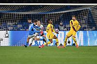 Dries Mertens of SSC Napoli scores the goal of 1-0 <br /> Napoli 25-02-2020 Stadio San Paolo <br /> Football Champions League 2019/2020 - Round 16, 1st leg<br /> SSC Napoli - FC Barcelona<br /> Photo Antonietta Baldassarre / Insidefoto