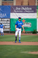 Kevin Lachance (5) of the Ogden Raptors on defense against the Idaho Falls Chukars in Pioneer League action at Lindquist Field on July 2, 2017 in Ogden, Utah. Ogden defeated Idaho Falls 6-5. (Stephen Smith/Four Seam Images)
