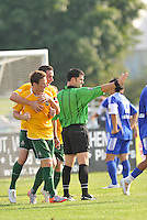 Luke Kreamalmeyer , Jack Traynor celebrate AC St Louis, opening goal,..AC St Louis and NSC Minnesota Stars played to a 2-2 tie at Anheuser-Busch Soccer Park, Fenton, Missouri.