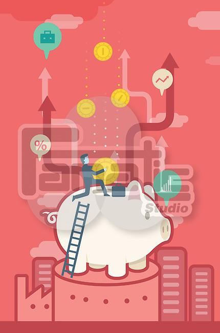 Illustrative image of businessman inserting coin in piggy bank representing savings