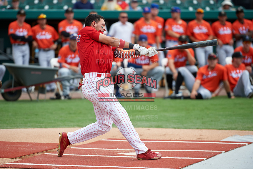Clearwater Threshers Herlis Rodriguez (1) during the Home Run Derby before the Florida State League All-Star Game on June 17, 2017 at Joker Marchant Stadium in Lakeland, Florida.  FSL North All-Stars defeated the FSL South All-Stars  5-2.  (Mike Janes/Four Seam Images)