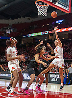 COLLEGE PARK, MD - FEBRUARY 9: Stephanie Jones #24 of Maryland takes a shot during a game between Rutgers and Maryland at Xfinity Center on February 9, 2020 in College Park, Maryland.