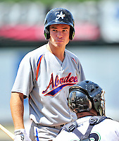15 July 2010: Aberdeen IronBirds' infielder Michael Flacco in action against the Vermont Lake Monsters at Centennial Field in Burlington, Vermont. The Lake Monsters rallied in the bottom of the 9th inning to defeat the IronBirds 7-6 notching their league leading 20th win of the 2010 NY Penn League season. Mandatory Credit: Ed Wolfstein Photo