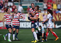 Abby Wambach, Alex Morgan, Kelley O'Hara, Rachel Buehler.  The USWNT defeated Costa Rica, 8-0, during a friendly match at Sahlen's Stadium in Rochester, NY.