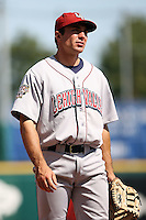 August 22 2008:  First baseman Mike Cervenak of the Lehigh Valley IronPigs, Class-AAA affiliate of the Philadelphia Phillies, during a game at Dunn Tire Park in Buffalo, NY.  Photo by:  Mike Janes/Four Seam Images
